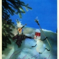 Christmas musical duet of a hare and a snowman